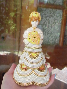 REAL Decorated Easter Egg Beaded Dress Victorian Girl Collectible Gift Goose
