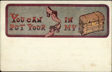 Rebus Comic - You Can Put Your Shoes in my Truck c1905 Postcard