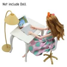 Set For Barbie Doll Play House Toy Furniture Desk Lamp Laptop Chair Accessories
