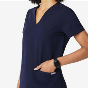 Figs Navy Blue Two Pocket Scrub Top Size Medium