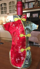 Silk Chinese Wine Bottle Cover Japanese Kimono, Red and green colour
