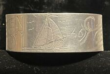 Trench Art Cuff Bracelet - 1946 Bremerhaven Germany - Sailboat - Aluminum
