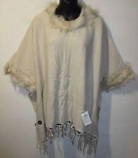 Faux Fur Trim Poncho Sweater Fits M L XL 1X 2X Plus Ivory Fringe Hemline NWT 481
