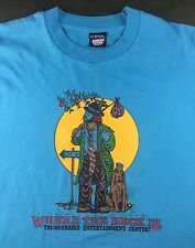 Vintage Mens XL 80s 90s Thunderbird Casino Clown Hitchhiker Blue T-Shirt