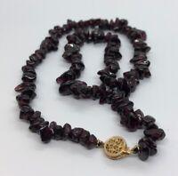 """14k Gold Estate Vintage Necklace Garnet Nugget Strand Red Gemstone 16"""""""