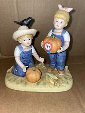 "Homco Denim Days Figurine Set #1531 ""The Prize Pumpkin"""