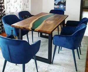 """48"""" x 30"""" Resin Epoxy Wooden Dining Table / Epoxy Table Top"""