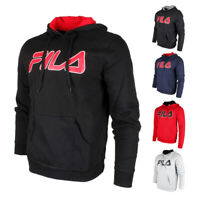 Fila Men's Filled Outline Graphic Logo Front Pocket Heavy Fleece Hoodie