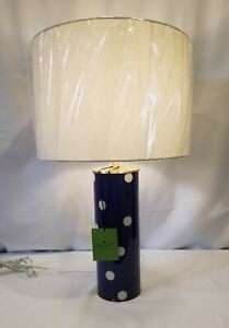 New KATE SPADE White Polka Dot Navy Blue TABLE LAMP Tall Cylinder Glass w/Shade