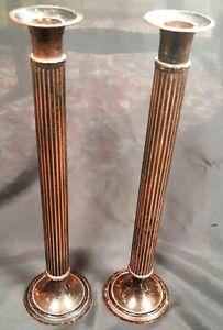 Impressive Pair of Antique Shabby Chic Roman Tuscan Style Column Candle Sticks