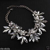Luxus Collier Statement mit Swarovski Kristallen Halskette Kette Crystal!