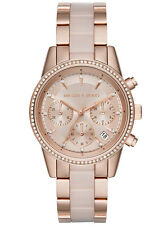 Michael Kors MK6307 Ritz Quartz Chronograph Rose Gold Tone Blush Acetate Watch