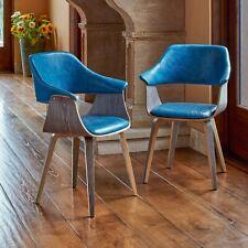 Supernova Mid Century Modern Walnut 2-Pack Bentwood Blue Armchair
