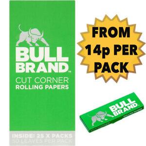 25 x BULL BRAND GREEN REGULAR CIGARETTE ROLLING MEDIUM WEIGHT PAPERS CUT CORNERS