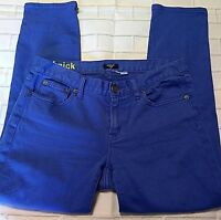 J Crew Womens Toothpick Jeans Size 28 Royal Blue Skinny Ankle Denim Stretch