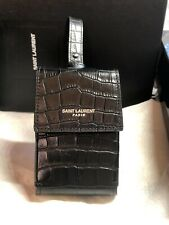 SAINT LAURENT YSL PORTASIG. ID Blk Cocco Print Leather Belt Bag Cigarette Pouch