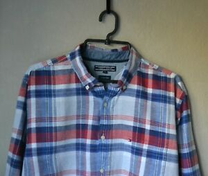 Authentic Casual TOMMY HILFIGER Cotton Linen Multicolor Checked Shirt Size XL