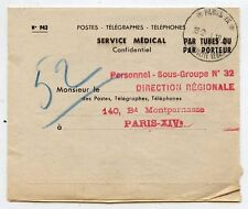 DOCUMENT SERVICE MEDICAL PAR TUBES OU PAR PORTEUR PARIS DIRECTION REGIONAL 1954