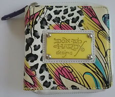 Don Ed Hardy Ladies Zip Around Bifold Wallet Bird & Cheeta Print White NEW