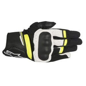 Alpinestars Booster Mens Short Motorcycle Motorbike Gloves - White Yellow Fluo