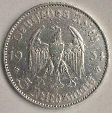 Imperio alemán 5 Reichsmark 1934 d plata