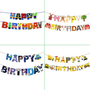 DIGGER SUPERHEROES SPACE FARM Themed BOYS HAPPY BIRTHDAY Banner Bunting Garlands