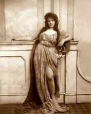 Woman Leaning on Mantle,Split Skirt c.1900s - Fitz W. Guerin 8x10 Reprint