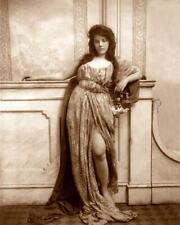 Woman Leaning on Mantle,Split Skirt c.1900s - Fitz W. Guerin 8x10 Reprint