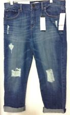 BANANA REPUBLIC BOYFRIEND BLUE DISTRESSED/DESTROYED JEANS CAPRI PANT 28 P (bz)