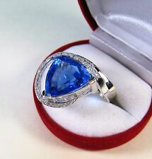 TANZANITE QUARTZ & SAPPHIRE RING 19.55 CTW sz 7.25 - WHITE GOLD over 925 SILVER