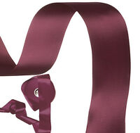 "5m x Deep plum purple double satin ribbon 50mm 2"" wide Made in UK"