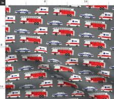 New listing First Gray Ambulance Fire Truck Car Firefighter Spoonflower Fabric by the Yard