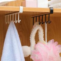 6 Hooks Kitchen Under Cabinet Towel Cup Paper Hanger Rack Organizer Shelf Holder
