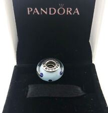 PANDORA Silver charm with blue murano glass, RETIRED