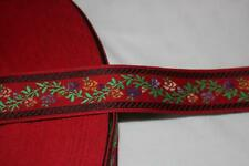 """10 yards Red Edelweiss Jacquard Brocade woven sewing ribbon Trim 1.25"""" wide 2pc"""