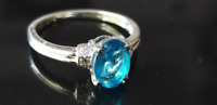 925 Sterling Silver London Blue Topaz Quartz Round Shape Ring Mother's day