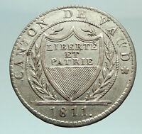 1811 SWITZERLAND Swiss Canton of VAUD Antique 1 Batzen Silver Coin SHIELD i75915