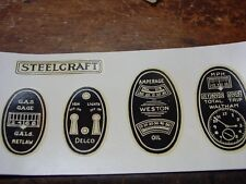 NEW SEARLY STEEL CRAFT PEDAL CAR DASH DECAL SET