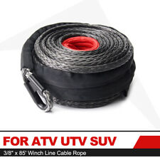 """for ATV UTV SUV Motorcycle Synthetic Winch Rope 3/8"""" 85' Winch Line Cable Rope"""