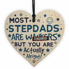 Funny Rude Step Dad Gifts Novelty Wooden Heart Sign Fathers Day Birthday Gifts