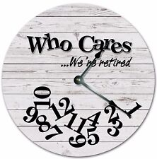 """10.5"""" Who Cares Were Retired Gray Wood Floors - Large 10.5"""" Wall Clock - 4731"""