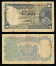 Scarce 1943 Banknote India Ten Rupees King George VI Pick# 19b Fine or Better