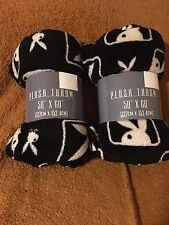 "New! Playboy bunny Plush Throw Blanket Super Soft 50""x60"" Lot of 2 Black White"