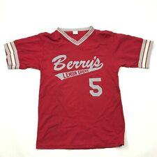 VINTAGE Berry's Lemon Grove Jersey Size Medium M Red Gray V-Neck Nylon Adult 70s