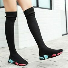 Over The Knee Boots Women Socks Long Thigh High Slim Knitting Boot Sneakers Flat