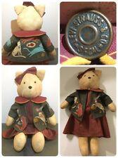 "Kitty Cat Plush Doll Stuffed Handmade Levi Strauss Button 22"" Cat Lover"