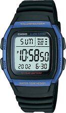 Casio Men's Digital Resin Strap Back Light Stop Watch, Black & Blue uhr orologio