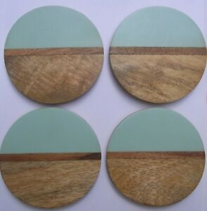 Stylish Wooden Coasters 2 Tone Dining Kitchen Coasters Set Of Four Contemporary