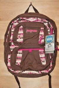JANSPORT Merit Backpack Bag Chocolate Pink Hearts New Older Stock