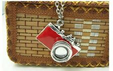 NEW Silver Red Camera Photo Photographer Pendant FREE Necklace Chain